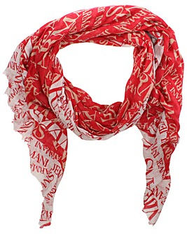 Armani Jeans Red Wool Mix Logo Scarf