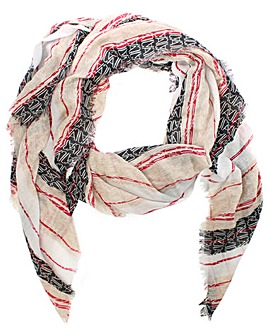 Armani Jeans Striped Frayed Edge Scarf