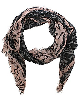 Armani Jeans Black Wool Mix Logo Scarf