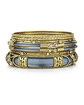 Mood embellished bangle set
