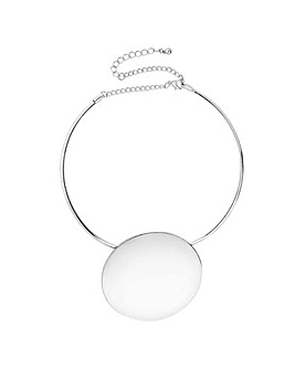 Mood oversized disc torque necklace