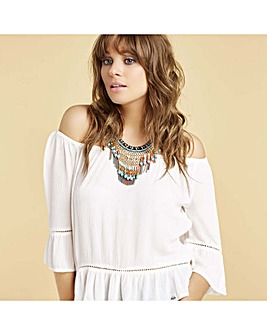 Mood statement fringe necklace