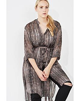 Elvi Printed Dip Hem Shirt Dress