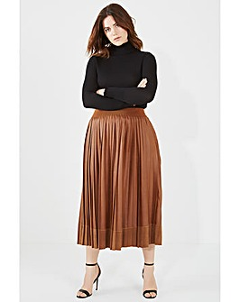 Elvi Tan Contrast Pleated Skirt