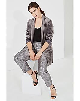 Elvi Grey Velvet Blazer