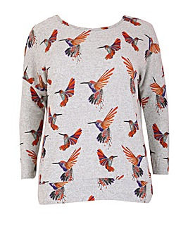 Samya Knitted Bird Print Top
