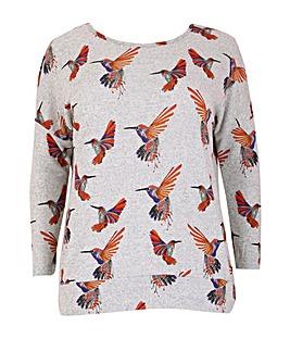 Samya Knitted Bird Print Top