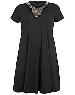 Koko Necklace Detail Swing Dress