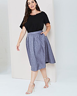 Girls On Film Grey Midi Skirt