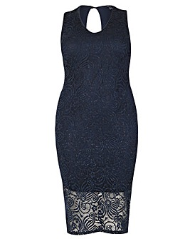 Samya V Neck Glitter Bodycon Dress