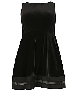 Samya Sheer Velvet Skater Dress