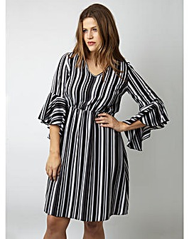 Lovedrobe GB Stripe Bell Sleeve Dress