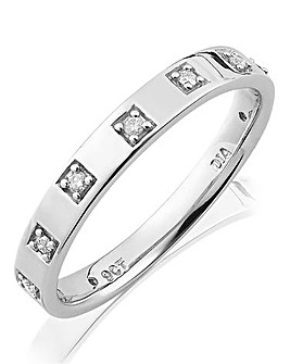 9ct Gold Ladies Diamond Wedding Band