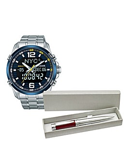 Pulsar Gents Bracelet Watch & Free Pen