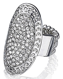 Oval Diamante Stretch Statement Ring