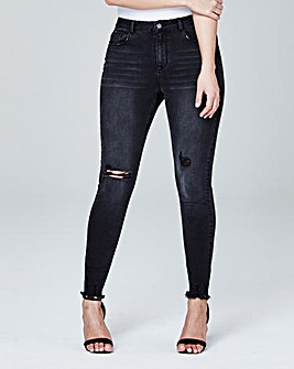 Chloe Distressed Hem Skinny Jeans Reg