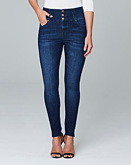 High Waist Button Front Slim Leg Jeans