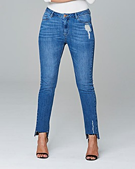 Stepped Hem Straight Leg Jeans Reg