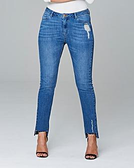 Stepped Hem Straight Leg Jeans Reg