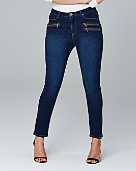 Hollie Zip Detail Slim Leg Jeans Reg