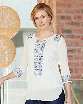 Nightingales Embroidered Crinkle Blouse