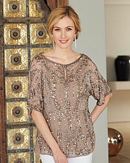 Nightingales Beaded and Sequin Blouse