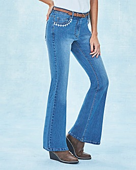 Belted Bootcut Jeans with Embroidery Reg