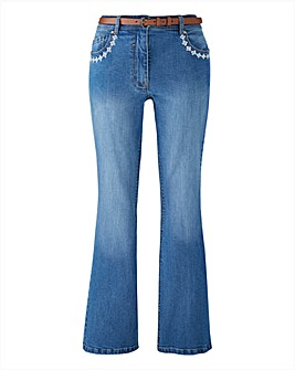 Belted Bootcut Jeans with Embroidery Sho