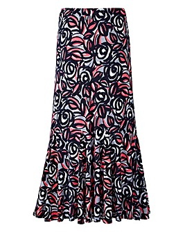 Nightingales Print ITY Skirt 27in