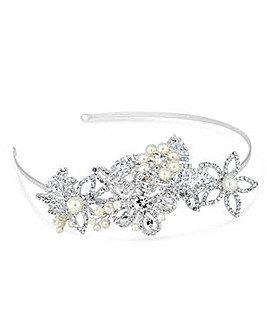 Alan Hannah leaf and flower pearl tiara