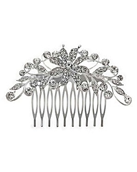 Jon Richard scrolled crystal flower comb