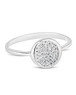 Simply Silver cubic zirconia disc ring