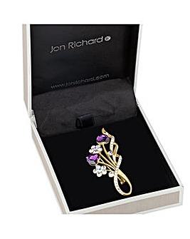 Jon Richard Floral heart spray brooch