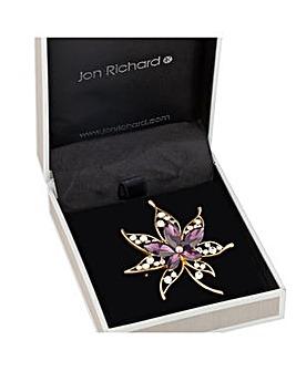Jon Richard Purple crystal leaf brooch