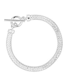 Simply Silver mesh t bar bracelet