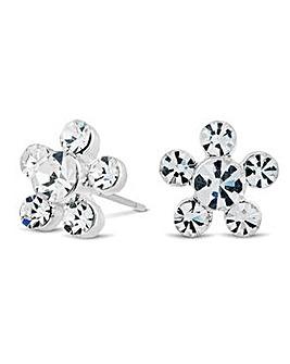 Alan Hannah crystal floral stud earring