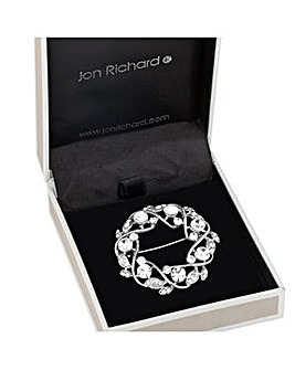 Jon Richard Crystal open wreath brooch