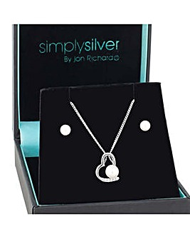 Simply Silver heart pearl centre set