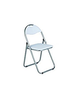 Padded Folding Office Chair - White.