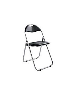 Padded Folding Office Chair - Black.