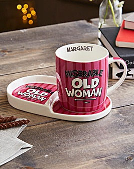 Personalised Miserable Old Woman Mug Set