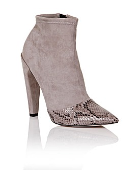 Little Mistress Grey Snake Ankle Boot