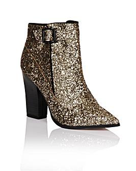 Little Mistress Gold Glitter Ankle Boot