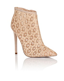 Little Mistress Nude Lace Ankle Boot