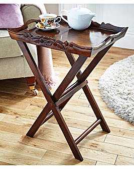 Solid Wood Hand Carved Tray Table