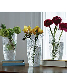 Cut Glass Effect Vases Set of 3
