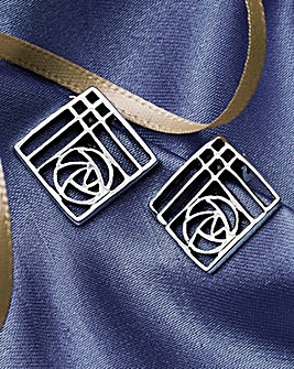 Macintosh Style Silver Clip Earrings