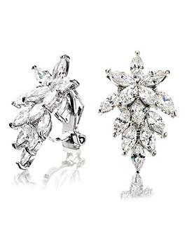 Crystal Cluster Clip on Earrings