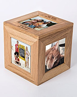Oak Photo Cube Personalised
