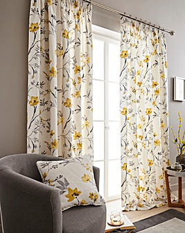 Odelia Printed Lined Eyelet Curtains